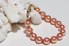 Rose Peach Pearl Bracelet 14k Gold Fill Wedding by ornatetreasures, $38.00