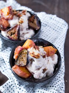 #Vegan Ice Cream with Roasted Peaches, Figs, and Pecans -- www.sweetpotatosoul.com