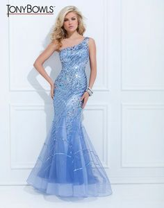One shoulder illusion gown from Tony Bowls Evenings