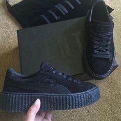 Rihanna Fenty Puma Black Satin Creepers