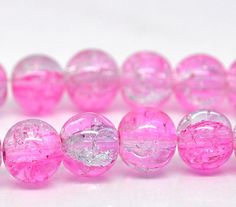16 Crackle Glass LIGHT PINK and CLEAR Round Glass  beads 10mm by SmartParts, $1.99