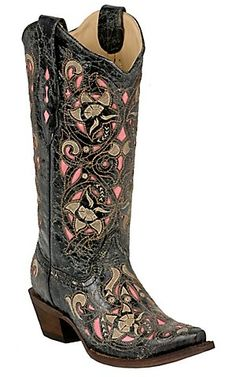 Corral® Ladies Distressed Black / Brown Floral w/ Pink Inlay Snip Toe Western Boots | Cavender's Boot City