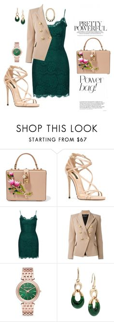 """""""The bag says it all"""" by agnesmakoni ❤ liked on Polyvore featuring Dolce&Gabbana, Topshop, Balmain and Michael Kors"""