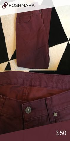 7 for all Mankind burgundy pants These burgundy 7s are in great condition. They're 'the straight' cut in a size 32. They're more of a chino denim than a heavy denim. 7 For All Mankind Pants Chinos & Khakis
