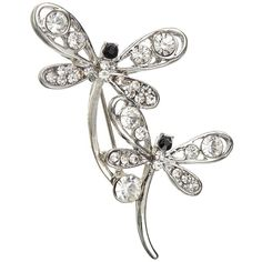 John Lewis Double Dragonfly Brooch, Silver (63 RON) ❤ liked on Polyvore featuring jewelry, brooches, silver jewelry, john lewis, silver flower jewelry, two tone jewelry and silver brooch