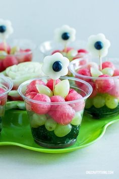 Flower fruit cups - great for snacks or as a healthy party food option.