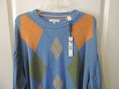 Alex Cannon Designer Blue Argyle Patterned Soft Cotton Crew Neck Sweater 2XL NWT #AlexCannon #Crewneck