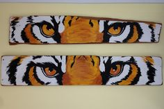 Tiger Eyes painted on 120 year old cypress wood by cmistretta1, $150.00