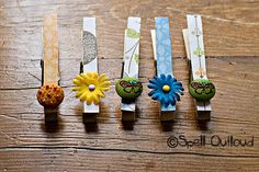 Altered Clothes Pins: Craft - Spell Out Loud.  so these are pretty and functional...but just having bought some more clothespins, I thought I might spare some for the kid to play with...