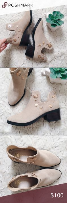 """E8 By Miista Sand Suede Embellished Ankle Bootie Say hello to spring in these casual boho-chic ankle booties. Features a comfortable pull-on style and 2"""" stacked heel. Western-inspired design with gold medallion embellishments. Fits best if you're a true size 7.  Size: 37 {fits like a 7} Miista Shoes Ankle Boots & Booties"""