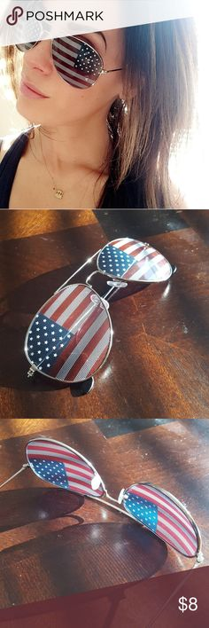 American Flag Aviators Show your pride for the US with these stylish gold frame American flag aviators. These rad sunglasses are perfect for summers on the water and for Independence Day!  When wearing these you will see some print through the lenses, as shown in photos. Worn once. No scratches.   Bundle 2+ items in my closet for discounts! Accessories Sunglasses