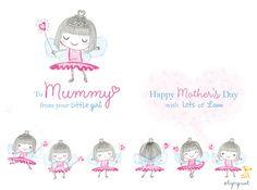 Mothers Day Fairy Girl card. Tigerprint
