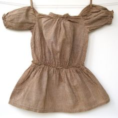 Antique Gingham Brown Cream Dropwaist Dress for Large Bisque or Compo Doll