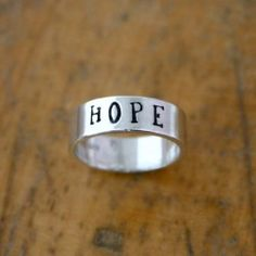 Sterling silver HOPE ring - wide custom name ring - USD $69.99