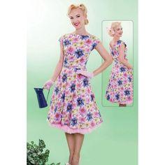 New Vintage Tatyana 50s Annie's Garden Pink Fabulous Floral Swing Dress w Belt #FloralSwing #Swing #Cocktail