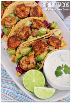 Shrimp Tacos with Cilantro Lime Cream Mama Harris Kitchen Shrimp Taco Recipes, Fish Recipes, Mexican Food Recipes, Dinner Recipes, Easy Shrimp Tacos, Grilled Shrimp Tacos, Recipies, Dessert Recipes, Lime Cream