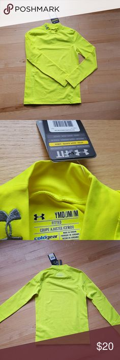 Under Armour compression shirt. Brand new with tags!  Under Armour compression shirt - fluorescent yellow, size medium. Under Armour Shirts & Tops