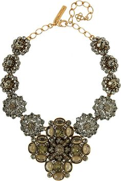 Oscar De La Renta Gray Goldplated Crystal Necklace