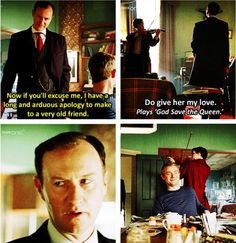 "I love how Sherlock follows Mycroft out just to mess with him, and John is like ""that's my boy"" :D"