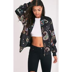 Cruz Black Paisley Print Satin Oversized Bomber Jacket ($19) ❤ liked on Polyvore featuring outerwear, jackets, black, satin bomber jacket, paisley bomber jacket, satin jackets, flight jacket and paisley jacket