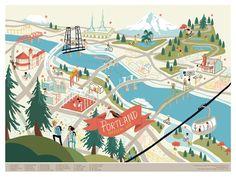 vintage portland map to print