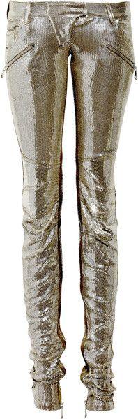 BALMAIN Zipped Paillette Skinny pants dressmesweetiedarling :D Fashion Week, High Fashion, Womens Fashion, Christophe Decarnin, Color Plata, Swagg, Skinny Pants, Passion For Fashion, Style Me