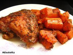 Mézeskalács konyha: Fűszeres csirkecomb kakukkfüves sütőtökkel