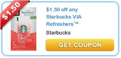 $1.50 off any Starbucks VIA Refreshers™ beverage New coupons and deals for active seniors daily at www.SeniorSpotChicago.com
