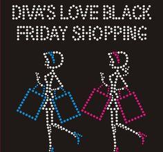 Diva's Love Black Friday Shopping Rhinestone by BlingnPrintStreet