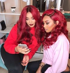 Red Wigs Lace Frontal Wigs Brown And Red Hair Color Dark Orange Lace F – eggplantral Human Hair Lace Wigs, 100 Human Hair, Red Brown Hair Color, Black Girl Red Hair, Black Girls, Black Women, Red Hair Ponytail, Red Lace Front Wig, Hair Colorful
