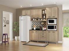 Cozinha Compacta Multimóveis Sicilia com Balcão - Nicho para Forno e Micro-ondas 9 Portas 3 Gavetas
