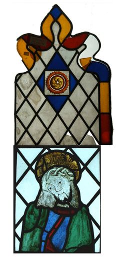 The Museum is located on the upper level of Ely Cathedral  A stained glass light made up of two panels showing Jesus Christ with a crown of thorns, c1500.