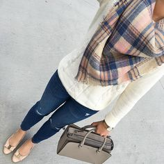 Comfy and casual #ootd - sweater, shoes and purse are all on sale plus my plaid scarf is only $25! Click the link in my profile for details! http://liketk.it/2pntO #fall #plaid #scarf