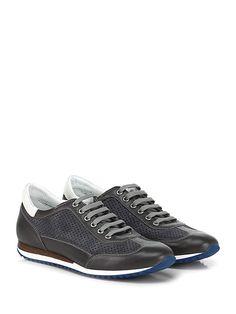 Galizio Torresi - Sneakers - Uomo - Sneaker in pelle e camoscio forato con suola in gomma. Tacco 40, platform 15 con battuta 25. - ANTRACITE - € 168.00