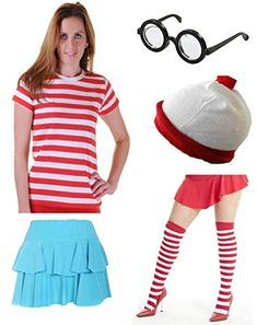 Women's Where's Wally Wenda Costume with Shirt, Ra-ra Skirt, Glasses, Hat and Socks. Sizes XS to XL Best 80s Costumes, Buy Costumes, Costumes For Women, Blue Chinos, Blue Trousers, Wheres Wally Fancy Dress, Long Pencil Skirt, Ladies Fancy Dress, Dress Up