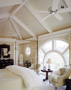 interiorstyledesign:    A lovely bedroom with a vaulted ceiling painted the same neutral tones as the walls, and an unusual large, round window  (via Frederick   Frederick Architects)