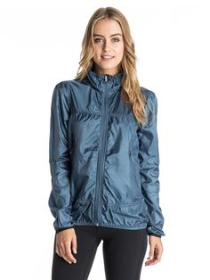 ROXY™ Womens Rain Runner Jacket - Made for gusty coastal conditions, this hooded lightweight windbreaker features a water shedding DWR coating, mesh pocket bags for ventilation, and elastic cuffs and hem for mobility. Workout Tank Tops, Workout Shirts, Roxy, Rain Jacket, Bomber Jacket, Rain Wear, Sport Fashion, Playing Dress Up, Sportswear
