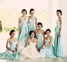 Beautiful Tiffany blue bridesmaid dresses with a touch of lace!