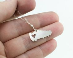 I love soccer silver shoe necklace