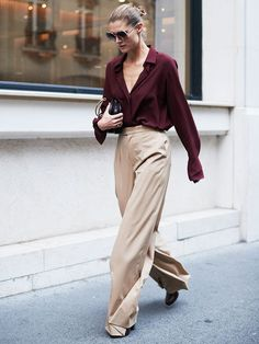 winter wedding outfits: blouse + palazzo pants = sophistication