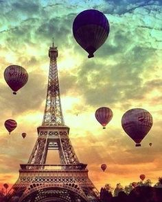 Paris in a hot air balloon. <3 #EiffelTower #colorful #evening