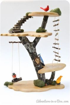 DIY Project: How to Build a Toy Fairy Tree House - Diyprojectgarden. Fairy Tree Houses, Cool Tree Houses, Diy For Kids, Crafts For Kids, Toy Trees, Tree Forts, Tree House Plans, Tree House Designs, Wooden Tree