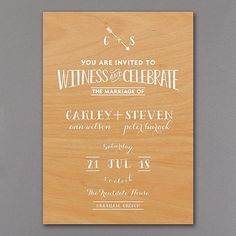 Rustic Celebration - Wedding Invitation - This rustic wedding invitation really hits the mark! The real wood invitation's arrow designs and vintage typography are printed in sparkling foil are right on target. #wedding #weddinginvitation #rusticwedding