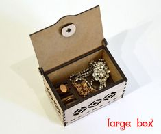 Thank you for visiting our store. For sale is Jewelry box - v1 (Laser cut vector model only). Digital product includes AI, EPS, CDR, DFX files. Set of 2 patterns: - 1 pattern (Small box) - 2 pattern (Large box) Create of plywood 3,2 mm (1/8 inch.) - - Laser cut vector model - DIMENSION-