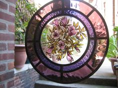 Stained Glass -A round panel with floral design(hand painted,kiln fire, leaded)