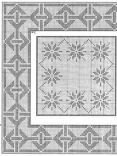 filet or cross stitch Filet Crochet Charts, Crochet Doily Patterns, Crochet Diagram, Knitting Charts, Thread Crochet, Crochet Motif, Crochet Doilies, Crochet Stitches, Fillet Crochet