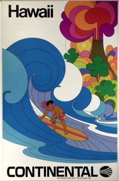 Continental Airline | Hawaii Poster, c. 1969 | on view at Smithsonian's National Air and Space Museum