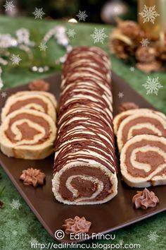 Cocoa butter cream rolls, so tasty you won't believe it! Romanian Desserts, Romanian Food, Just Desserts, Delicious Desserts, Cake Recipes, Dessert Recipes, Biscuits, Dessert Drinks, Eat Dessert First