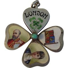 VERY RARE Opening LONDON Clover Enamel Charm George VII