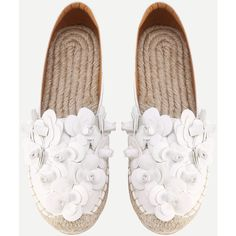 SheIn(sheinside) Flower Embellished Espadrille Flats (155 RON) ❤ liked on Polyvore featuring shoes, flats, white, white espadrilles flats, flat pumps, vegan flats, faux leather shoes and embellished shoes